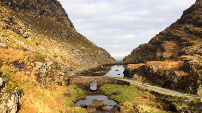 Image of the stone bridge by the serpent lake in the Gap of Dunloe, County Kerry.